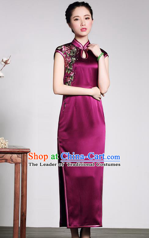 Traditional Chinese National Costume Elegant Hanfu Purple Silk Cheongsam, China Tang Suit Plated Buttons Chirpaur Dress for Women