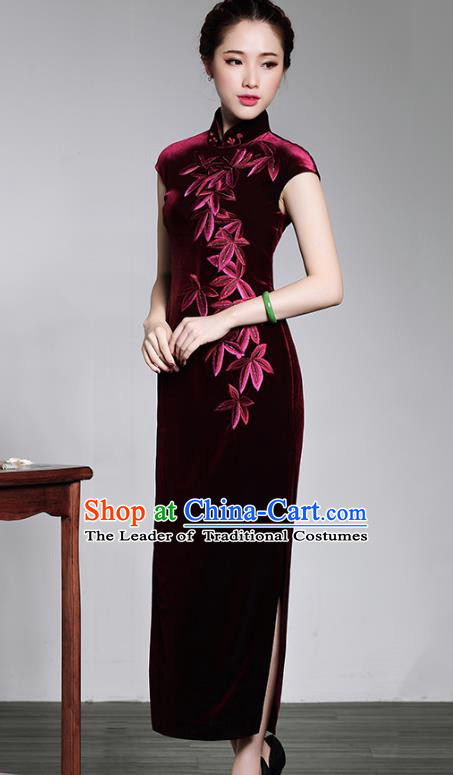 Traditional Chinese National Costume Elegant Hanfu Purple Velvet Embroidered Cheongsam, China Tang Suit Plated Buttons Chirpaur Dress for Women