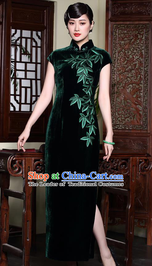 Traditional Chinese National Costume Elegant Hanfu Green Velvet Embroidered Cheongsam, China Tang Suit Plated Buttons Chirpaur Dress for Women