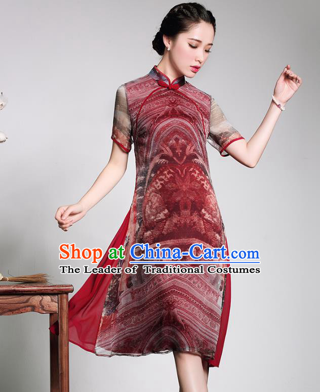 Traditional Chinese National Costume Elegant Hanfu Printing Silk Cheongsam, China Tang Suit Plated Buttons Chirpaur Dress for Women