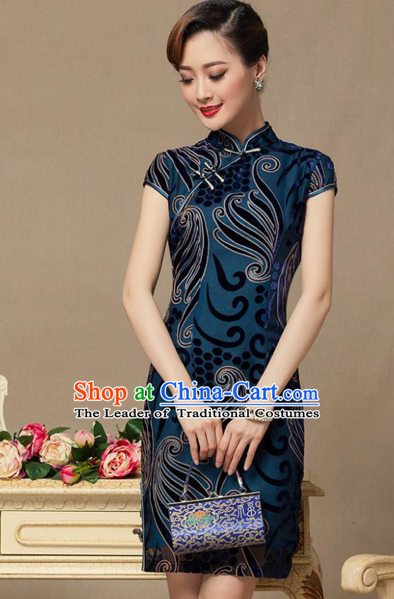 Traditional Chinese National Costume Elegant Hanfu Blue Velvet Cheongsam, China Tang Suit Slant Opening Chirpaur Cheong-sam for Women