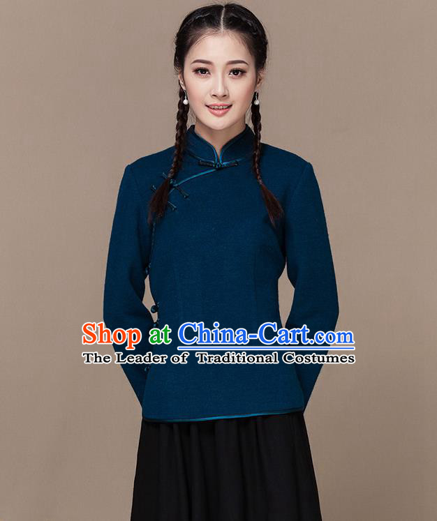 Traditional Chinese National Costume Elegant Hanfu Plated Button Blue Wool Shirt, China Tang Suit Slant Opening Blouse Cheongsam Upper Outer Garment for Women