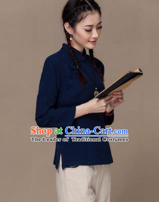 Traditional Chinese National Costume Elegant Hanfu Plated Button Navy Linen Shirt, China Tang Suit Upper Outer Garment Cheongsam Blouse for Women