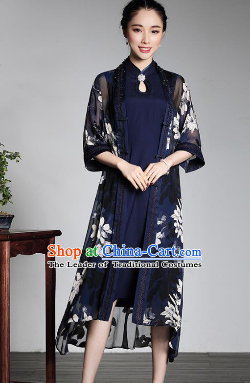 Traditional Chinese National Costume Elegant Hanfu Plated Buttons Coat and Dress, China Tang Suit Cheongsam for Women