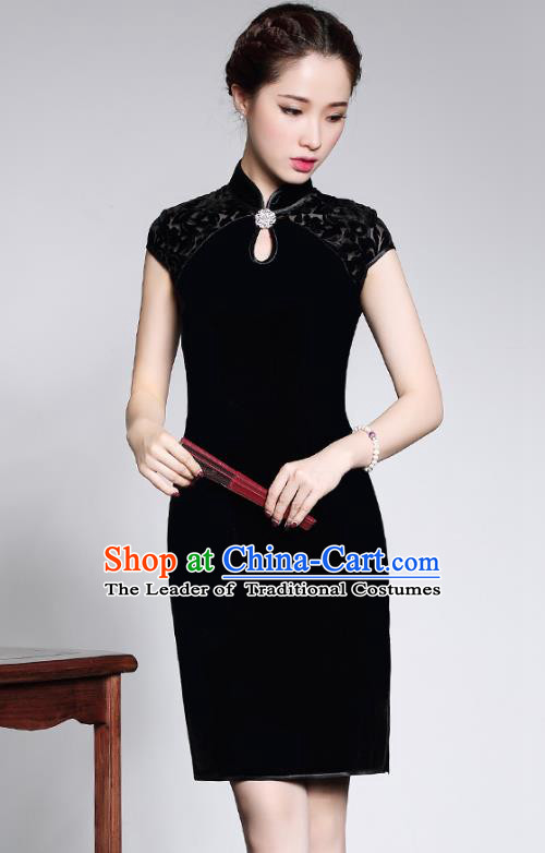 Traditional Chinese National Costume Elegant Hanfu Black Velour Cheongsam, China Tang Suit Plated Buttons Chirpaur Dress for Women