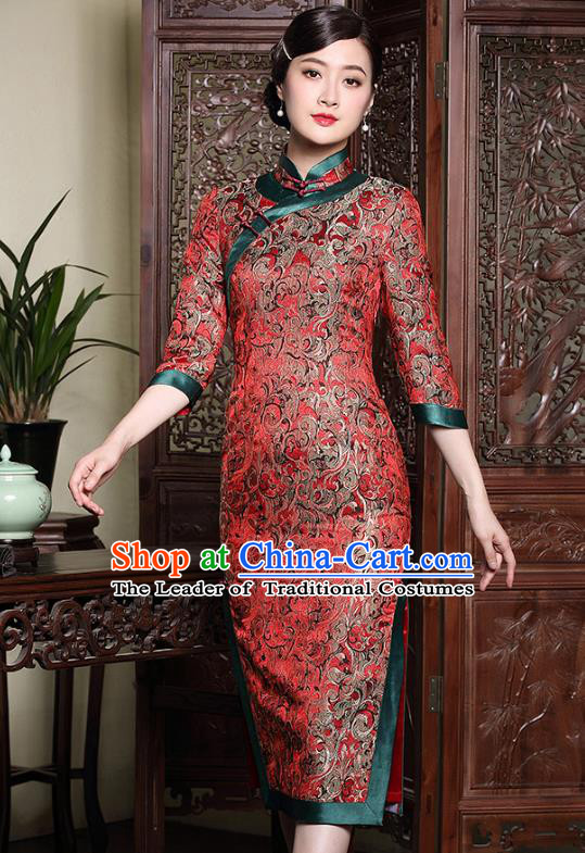 Traditional Chinese National Costume Elegant Hanfu Red Brocade Cheongsam, China Tang Suit Plated Buttons Wedding Chirpaur Dress for Women