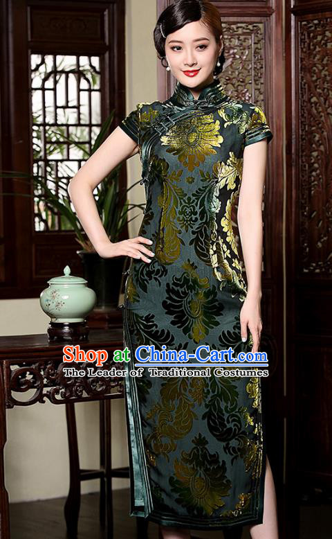 Traditional Chinese National Costume Elegant Hanfu Green Velour Cheongsam, China Tang Suit Plated Buttons Chirpaur Dress for Women