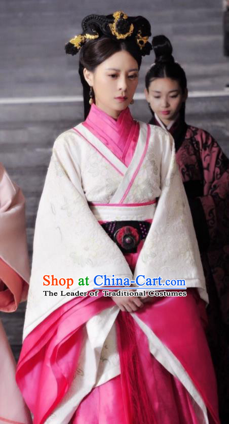 Asian China Qin Dynasty Princess Costume and Headpiece Complete Set, Traditional Chinese Ancient Palace Lady Embroidered Clothing for Women