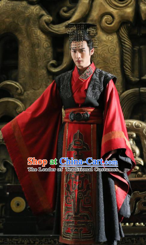 Asian China Qin Dynasty Imperial Emperor Costume, Traditional Chinese Ancient The First Emperor Embroidered Clothing for Men