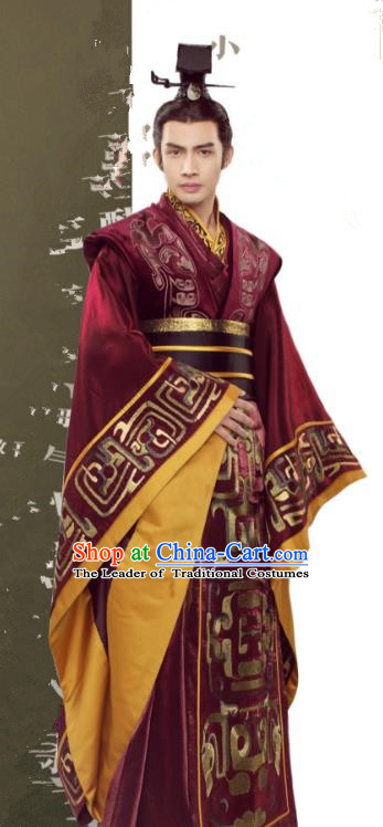Asian China First Emperor of Qin Dynasty Costume, Traditional Chinese Ancient King Embroidered Clothing for Men