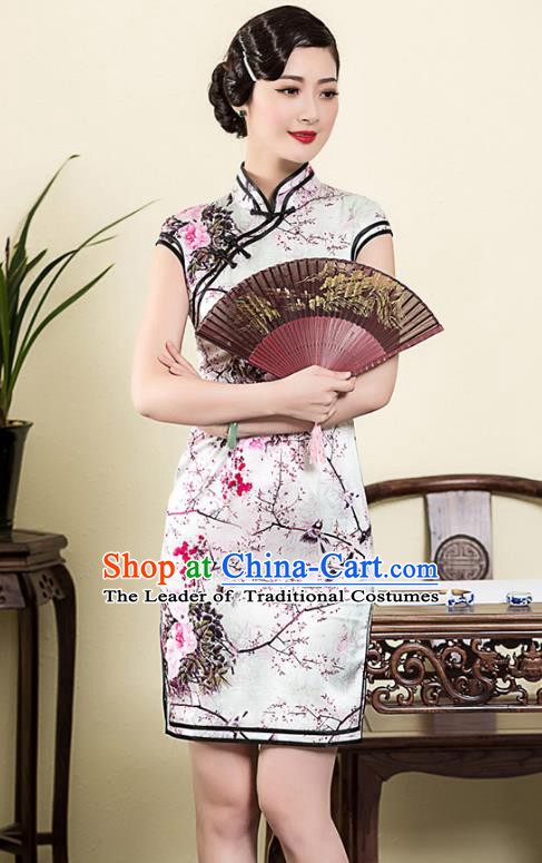 Traditional Chinese National Costume Elegant Hanfu White Silk Printing Cheongsam, China Tang Suit Plated Buttons Chirpaur Dress for Women