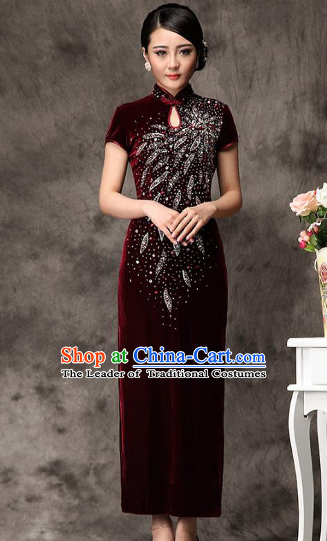 Traditional Chinese National Costume Elegant Hanfu Red Velvet Beading Cheongsam, China Tang Suit Plated Buttons Chirpaur Dress for Women