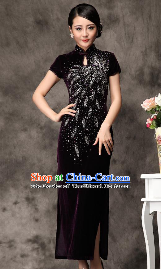 Traditional Chinese National Costume Elegant Hanfu Purple Velvet Beading Cheongsam, China Tang Suit Plated Buttons Chirpaur Dress for Women