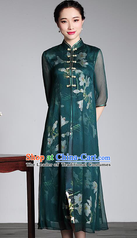 Traditional Chinese National Costume Elegant Hanfu Green Silk Long Cheongsam, China Tang Suit Plated Buttons Chirpaur Dress for Women