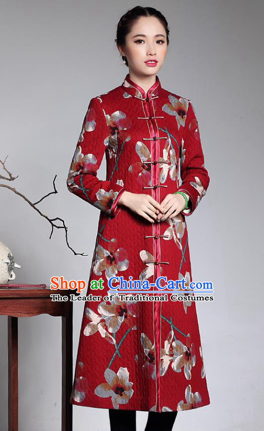Traditional Chinese National Costume Elegant Hanfu Cheongsam Red Cotton-padded Coat, China Tang Suit Plated Buttons Chirpaur Dust Coat for Women