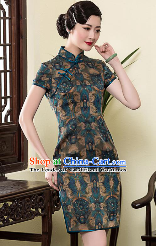 Traditional Chinese National Costume Elegant Hanfu Blue Silk Printing Cheongsam, China Tang Suit Plated Buttons Chirpaur Dress for Women
