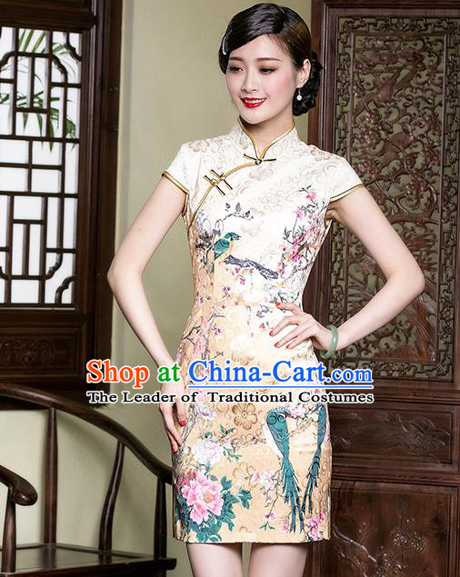 Traditional Chinese National Costume Elegant Hanfu Yellow Printing Peony Cheongsam, China Tang Suit Plated Buttons Qipao Chirpaur Dress for Women
