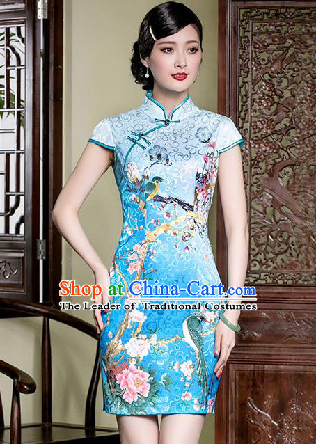 Traditional Chinese National Costume Elegant Hanfu Blue Printing Peony Cheongsam, China Tang Suit Plated Buttons Qipao Chirpaur Dress for Women