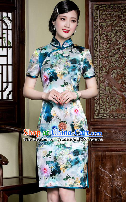 Traditional Chinese National Costume Elegant Hanfu Printing Lotus Silk Cheongsam, China Tang Suit Plated Buttons Qipao Chirpaur Dress for Women