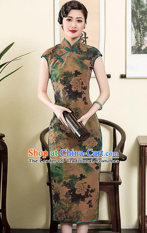 Traditional Chinese National Costume Elegant Hanfu Printing Silk Cheongsam, China Tang Suit Plated Buttons Qipao Chirpaur Dress for Women