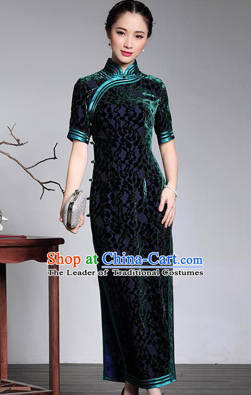 Traditional Chinese National Costume Elegant Hanfu Green Velvet Cheongsam, China Tang Suit Plated Buttons Qipao Chirpaur Dress for Women