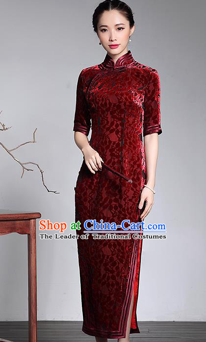 Traditional Chinese National Costume Elegant Hanfu Red Velvet Cheongsam, China Tang Suit Plated Buttons Qipao Chirpaur Dress for Women