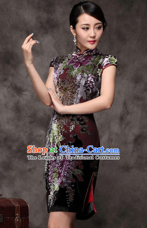 Traditional Chinese National Costume Elegant Hanfu Silk Cheongsam, China Tang Suit Plated Buttons Qipao Chirpaur Dress for Women