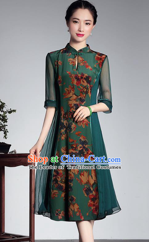 Traditional Chinese National Costume Elegant Hanfu Green Silk Cheongsam, China Tang Suit Plated Buttons Qipao Chirpaur Dress for Women