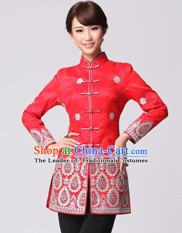 Traditional Chinese National Costume Elegant Hanfu Cheongsam Red Embroidered Coat, China Tang Suit Plated Buttons Chirpaur Coat for Women