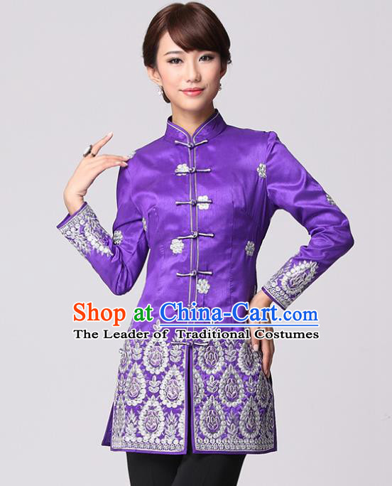 Traditional Chinese National Costume Elegant Hanfu Cheongsam Purple Embroidered Coat, China Tang Suit Plated Buttons Chirpaur Coat for Women
