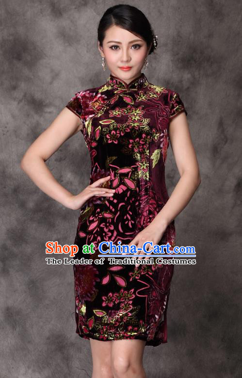 Traditional Chinese National Costume Elegant Hanfu Velvet Cheongsam, China Tang Suit Plated Buttons Chirpaur Dress for Women