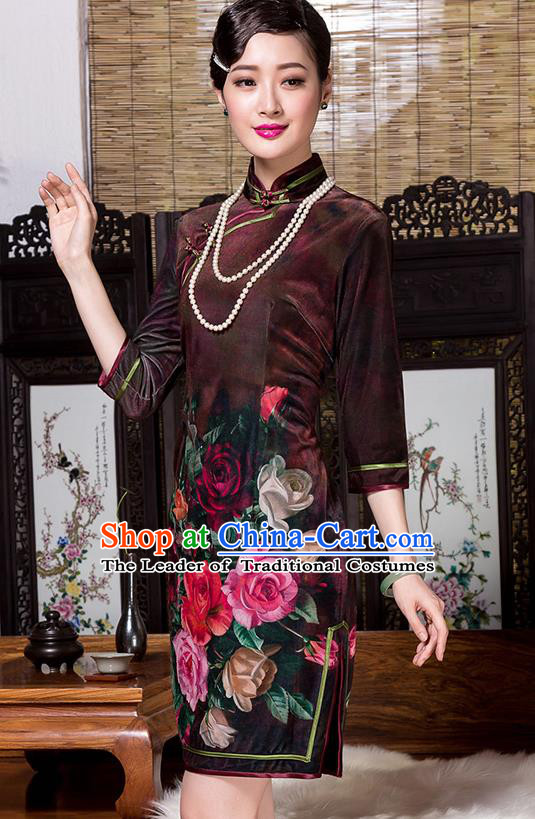 Traditional Chinese National Costume Elegant Hanfu Printing Flowers Velvet Cheongsam, China Tang Suit Plated Buttons Chirpaur Dress for Women