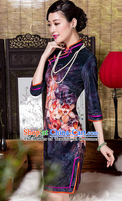 Traditional Chinese National Costume Elegant Hanfu Printing Flowers Purple Velvet Cheongsam, China Tang Suit Plated Buttons Chirpaur Dress for Women