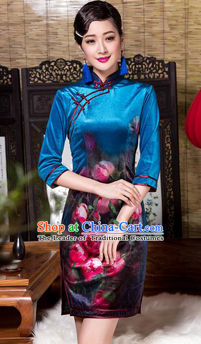 Traditional Chinese National Costume Elegant Hanfu Printing Flowers Blue Velvet Cheongsam, China Tang Suit Plated Buttons Chirpaur Dress for Women