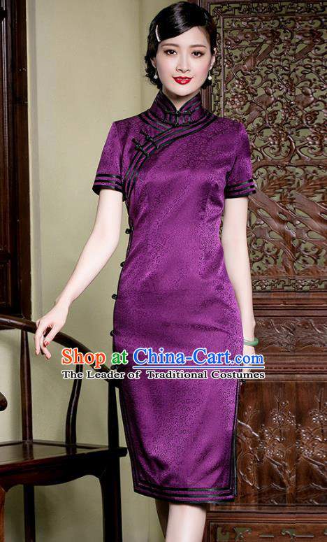 Traditional Chinese National Costume Elegant Hanfu Purple Silk Qipao Dress Cheongsam, China Tang Suit Plated Buttons Chirpaur for Women