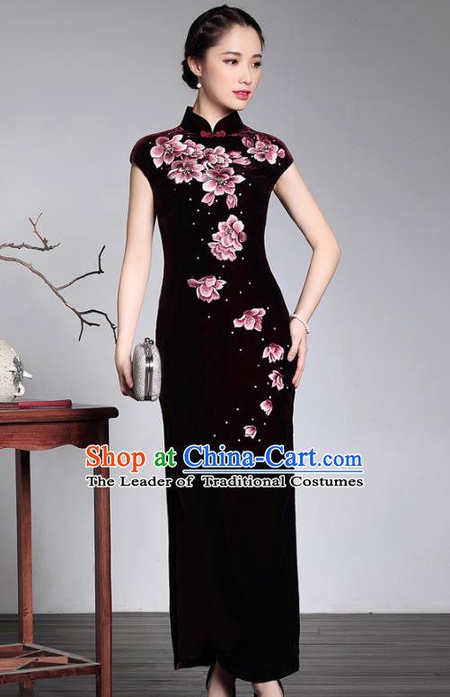 Traditional Chinese National Costume Elegant Hanfu Purple Velvet Embroidered Qipao Dress Cheongsam, China Tang Suit Plated Buttons Chirpaur for Women