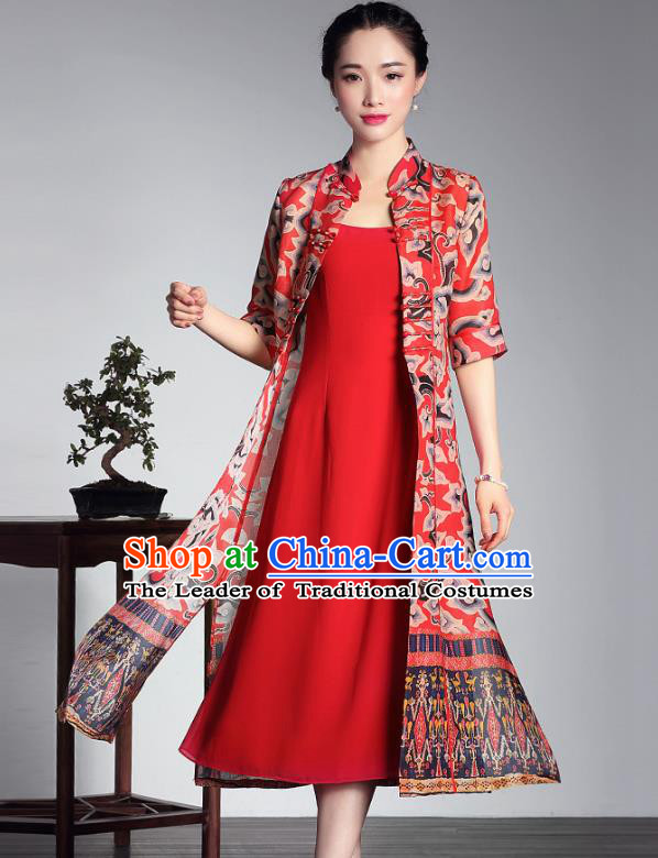 Traditional Chinese National Costume Elegant Hanfu Red Cheongsam Long Coat, China Tang Suit Plated Buttons Chirpaur Dust Coat for Women