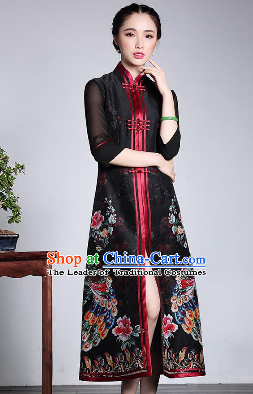 Traditional Chinese National Costume Elegant Hanfu Black Silk Cheongsam Long Coat, China Tang Suit Plated Buttons Chirpaur Dust Coat for Women