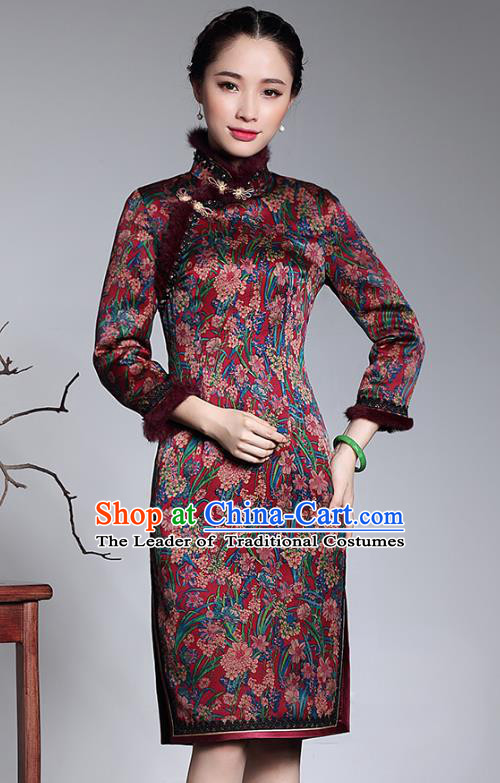Traditional Chinese National Costume Elegant Hanfu Cheongsam Watered Gauze Qipao Dress, China Tang Suit Plated Buttons Chirpaur for Women