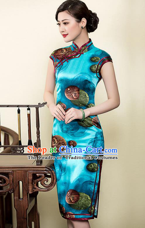 Traditional Chinese National Costume Elegant Hanfu Cheongsam Printing Blue Silk Qipao Dress, China Tang Suit Plated Buttons Chirpaur for Women