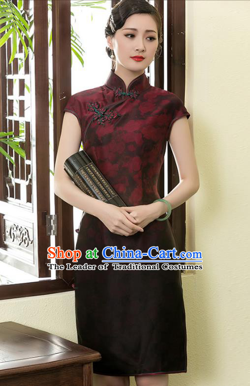 Traditional Chinese National Costume Elegant Hanfu Printing Silk Qipao Dress, China Tang Suit Plated Buttons Cheongsam for Women
