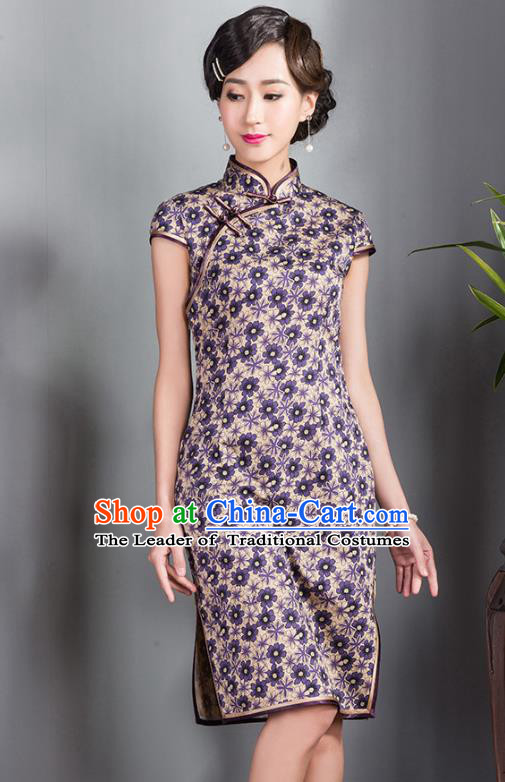 Traditional Chinese National Costume Elegant Hanfu Printing Silk Purple Qipao Dress, China Tang Suit Plated Buttons Cheongsam for Women