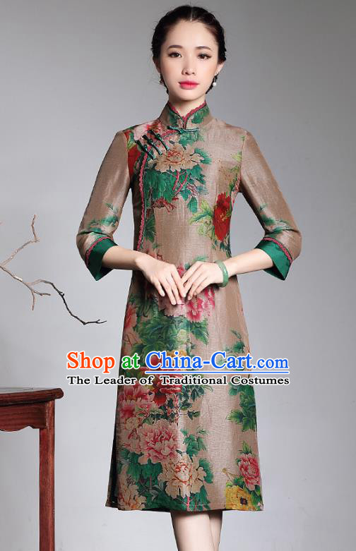 Traditional Chinese National Costume Elegant Hanfu Printing Peony Silk Qipao Dress, China Tang Suit Plated Buttons Cheongsam for Women