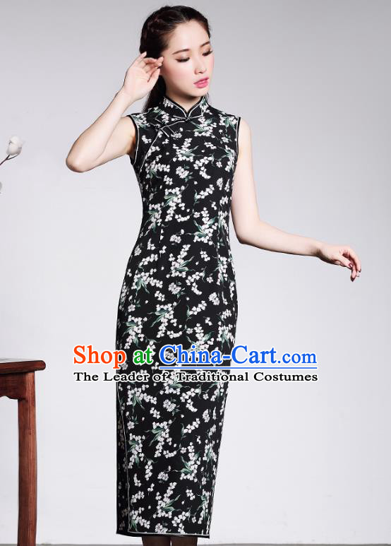 Traditional Chinese National Costume Elegant Hanfu Plated Button Black Qipao Dress, China Tang Suit Cheongsam for Women