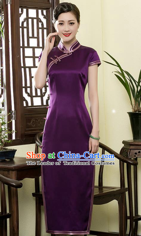 Traditional Chinese National Costume Elegant Hanfu Plated Buttons Purple Silk Qipao Dress, China Tang Suit Cheongsam for Women
