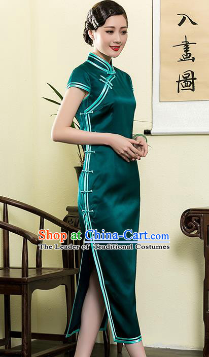 Traditional Chinese National Costume Elegant Hanfu Plated Buttons Green Silk Qipao Dress, China Tang Suit Cheongsam for Women