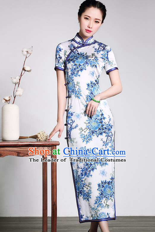 Traditional Chinese National Costume Elegant Hanfu Plated Buttons Blue Silk Qipao Dress, China Tang Suit Cheongsam for Women