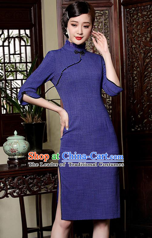 Traditional Chinese National Costume Elegant Hanfu Plated Buttons Blue Qipao Dress, China Tang Suit Cheongsam for Women