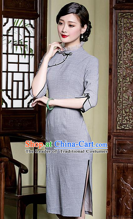 Traditional Chinese National Costume Elegant Hanfu Plated Buttons Grey Qipao Dress, China Tang Suit Cheongsam for Women