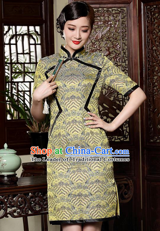 Traditional Chinese National Costume Elegant Hanfu Green Brocade Qipao Dress, China Tang Suit Plated Buttons Cheongsam for Women